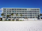 Looking at the condo from the fantastic white sand beach.
