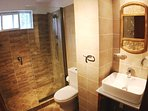 Bathroom with ample shower, abundance of hot water (solar) and great water pressure