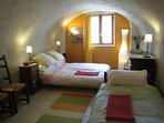 beautiful vaulted ceiling in the bedroom for 3-4