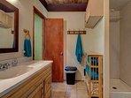 Indoor bathroom w/standup shower.