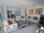 Lovely television area with very comfy sofas