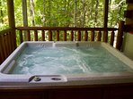 Relax in the hot tub on the lower covered deck.