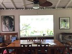 Dining room with view of the ocean and Maui beyond.