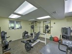 The basement also features a weight room, where you can fit in a quick workout between vacation activities.
