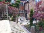 Decking with garden table and chairs
