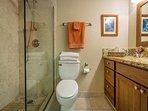 Master Bathroom With Travertine Tiled Walk In Shower