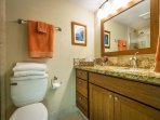 Master Bathroom With Granite Counters And New Cabinetry