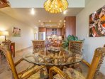 Open Dining Area With Beautiful Travertine Tile Throughout Main