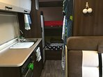 Extra long bunk beds at the rear (212cm!)