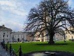 Trinity college court yard is a two min walk via back entrance