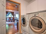 The laundry machines, adjacent to the kitchen, offer convenience and comfort throughout your stay.