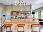 Modern kitchen with rustic appeal with all the necessities to prepare your meals.