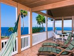 Sea views from spacious covered deck