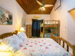 Guest bedroom with double and bunk bed, sleeps 4