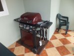 BBQ grill on covered deck