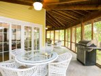 Screen porch for added comfortable outdoor living.