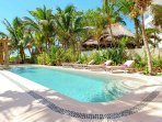 Riviera Maya Haciendas, Villa Alma Rosa - Beachside Swimming Pool Chaises Lounges And Terrace