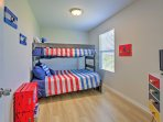 This bedroom provides a twin-over-full bunk bed, perfect for younger travelers!