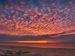 Coucher de soleil sur la plage d'Hardelot