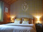 Comfortable and stylish King Sized Double room, solid pine cabins aid for a restful nights sleep too