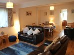 Comfortable open plan lounge and dining room with Sky Q, Freeview and Wi-Fi