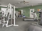 Squeeze in a workout at the fully equipped community fitness center.