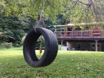 Enjoy a tire swing or hang your hammocks from one of the trees