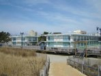 View of the Seashore Club from the beach and boardwalk