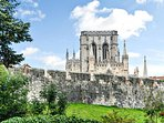 View from the lounge window of York Minster and the old City Walls