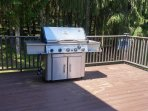 5-burner Vermont Castings gas grill with side burner