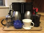Automatic coffee maker with two carafes, pour-over or french press coffee, tea kettle.