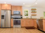 Updated kitchen with new stainless steel appliances