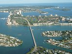 Aerial view of south St. Petersburg, nearby islands, St. Pete Beach