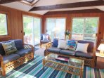 Sunroom has sliders to outside back deck and yard-13 Marlin Road South Harwich Cape Cod New England Vacation Rentals