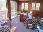 Desk area if you have to work or get on line in sunroom-13 Marlin Road South Harwich Cape Cod New England Vacation...