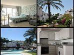 Beautiful bright and airy Studio Apartment. Kitchen with granite worktops. Pool and tropical gardens