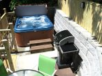 Deck with Hot Tub, Gas Grill and Table/Chairs
