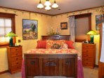 Arcata Stay's Rose Court Cottage studio vacation rental queen bed