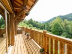 Full length balcony with stunning mountain views