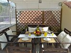 Gazebo on Exclusive Terrace Solarium equipped with sun beds, sun chairs, shower, tables, chairs