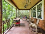 Relax on the spacious deck while admiring the mountain views.