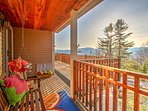 Admire the panoramic mountain views from this expansive wrap around deck, with charbroil electric grill, swing bench...