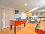 Keep the festivities going day in and day out with  this well-equipped family game room.