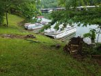 Shore dock your boat within the 220 linear feet of lake frontage.   Wood fire piles available