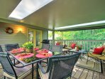 Dine al fresco in the outdoor living space, complete with a gas grill.