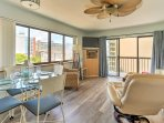 You'll have easy access to the balcony through the sliding doors in the living room!