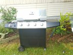 Gas grill.  Check level of gas before cooking.  $20 tank exchange at Dollar General nearby
