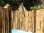 Outdoor bamboo shower.