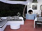 Main sun terrace with shade sail - Bar and BBQ