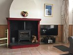 The lounge with log burner and large screen TV